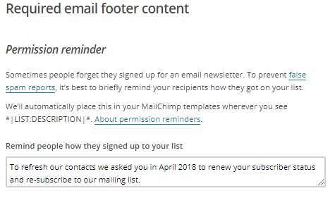 Required email footer content on Mailchimp